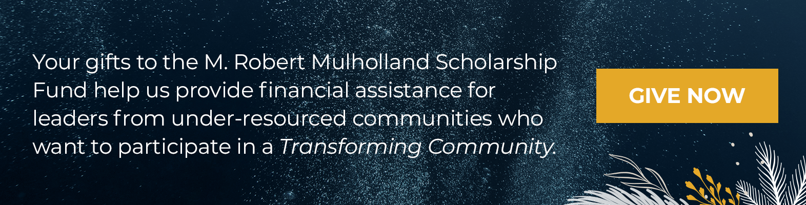 Your gifts to the Mulholland Scholarship fund help us provide financial assistance for leaders from under-resourced communities who want to participate in a Transforming Community.